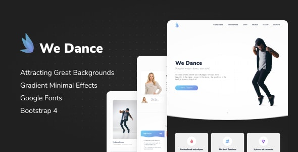 We Dance - Landing Template Bootstrap - Creative Site Templates