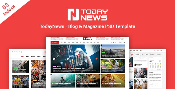 TodayNews - News Blog &  Magazine PSD Template - Creative PSD Templates