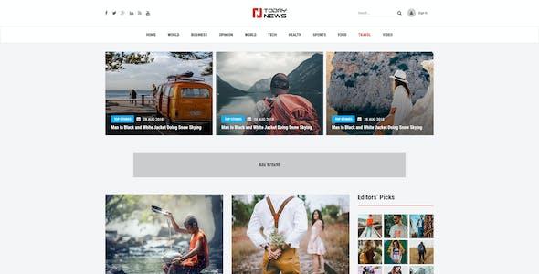 TodayNews - News Blog &  Magazine PSD Template