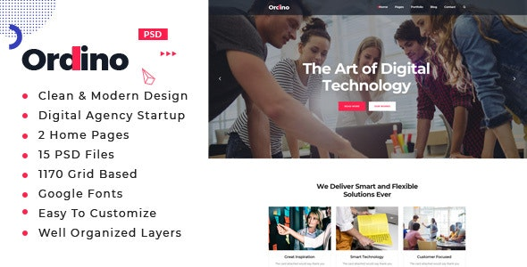 Ordino : Digital Agency PSD Template - Creative Photoshop