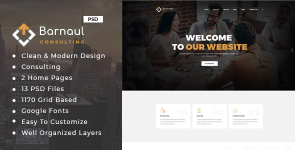 Barnaul : Consulting Business PSD Template - Business Corporate