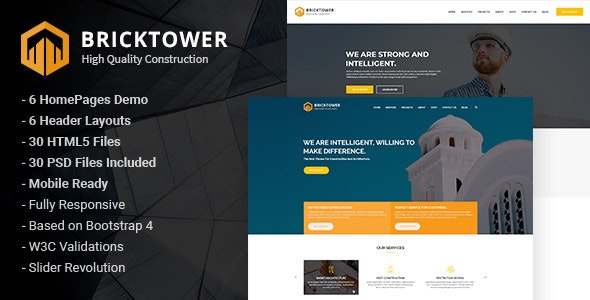 Bricktower - Construction and Building Company HTML5 Template - Business Corporate