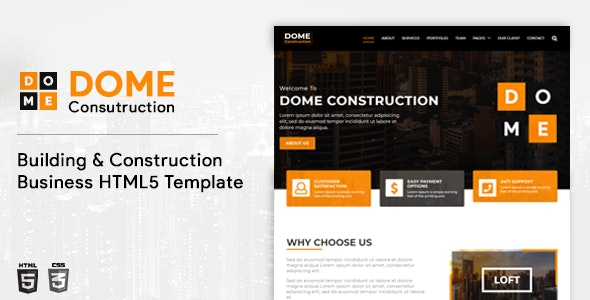 Dome – Construction Services Bootstrap 4 Template - Corporate Site Templates