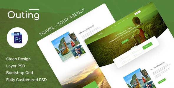 Outing - Onepage Landing Travel & Tour PSD Template - Travel Retail