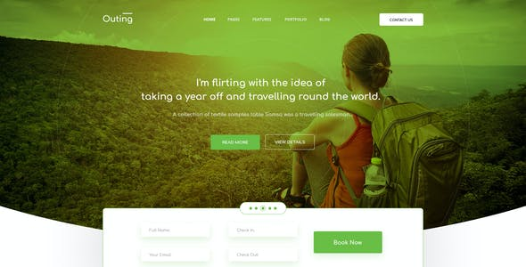 Outing - Onepage Landing Travel & Tour PSD Template