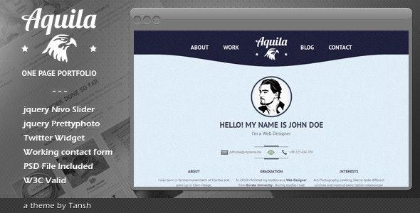 Aquila One Page Portfolio - Portfolio Creative