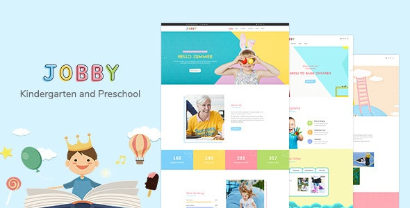 Jobby - Day Care and Kindergarten PSD Template - Business Corporate