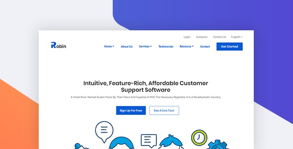 Customer Support Software HTML Landing Page - Robin - Software Technology