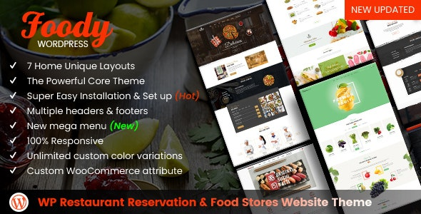 Foody - WordPress Restaurant Reservation & Food Store Website Theme - Food Retail