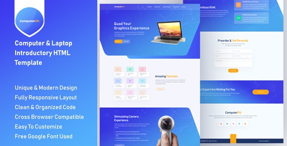 ComputerON - Computer & Laptop Introductory HTML Templates - Computer Technology