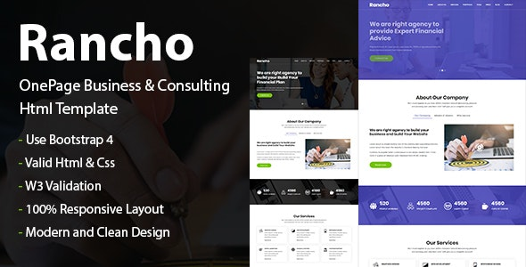 Rancho - OnePage Business & Consulting HTML Template - Business Corporate