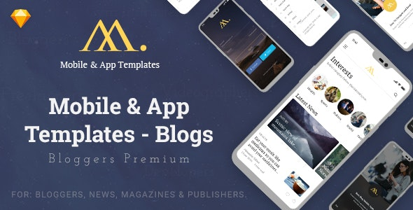 Mobile & App Templates - Blogs in Sketch - Corporate Sketch