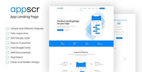 Appscr - HTML5 App Landing Page - Landing Pages Marketing