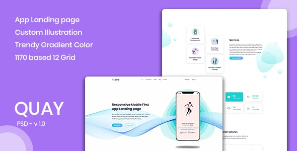 Quay - Landing Page for App & Saas Products - Technology PSD Templates