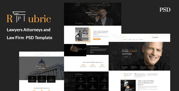 Rubric - Lawyers Attorneys and Law Firm PSD Template - Business Corporate