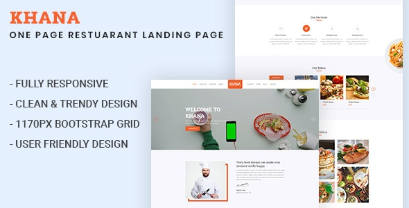KHANA - One Page Restaurant PSD Template - Restaurants & Cafes Entertainment