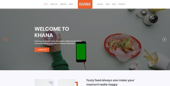 KHANA - One Page Restaurant PSD Template