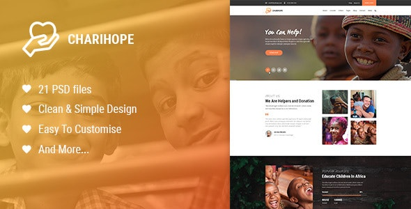 Charihope   Charity and Donate PSD Template - Charity Nonprofit