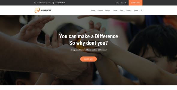 Charihope   Charity and Donate PSD Template