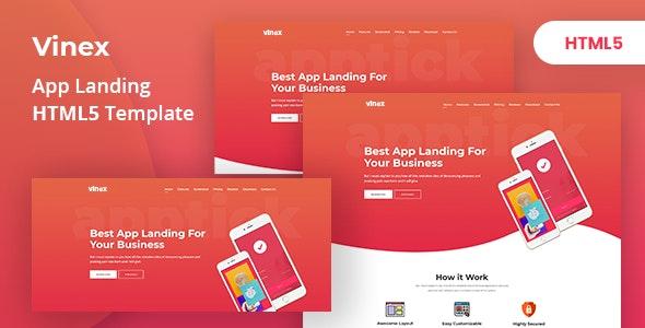 Vinex - App Landing HTML5 Template - Technology Site Templates
