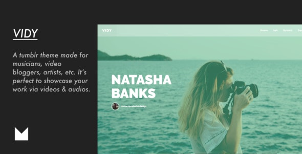Vidy - Responsive Video Tumblr Theme - Business Tumblr