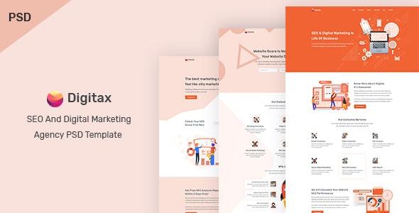 Digitax | SEO And Digital Marketing Agency PSD Template - Marketing Corporate