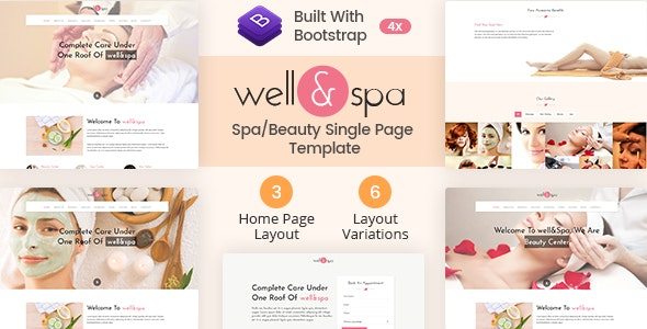 well&spa- Responsive Spa/Beauty Single Page  Template - Marketing Corporate