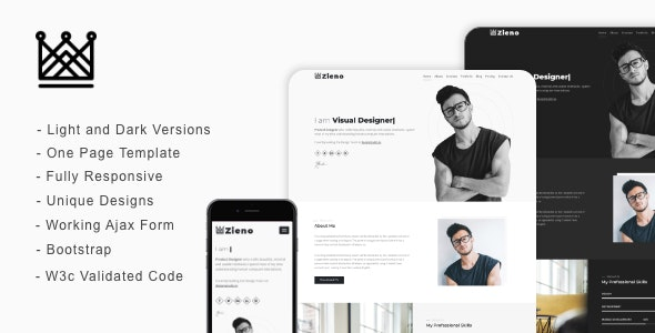 Zieno - Personal Portfolio One Page Landing Page - Portfolio Creative