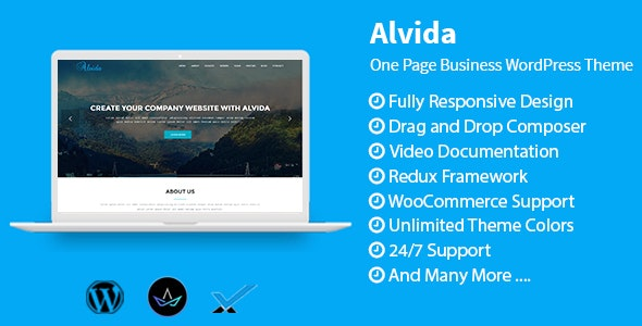 Alvida - One Page Business WordPress Theme - Technology WordPress