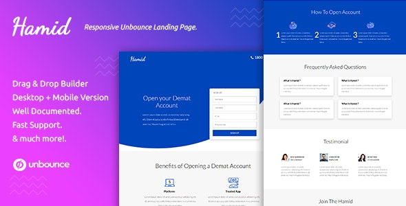 Hamid — Responsive Unbounce Landing Page Template - Unbounce Landing Pages Marketing