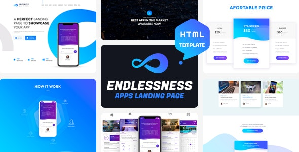 Endlessness - App Landing Page HTML Template - Technology Site Templates