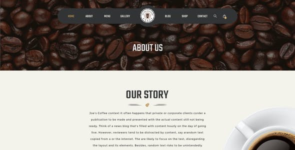Joe Coffee - A Psd Template for Cafes, Coffee Shops and Bars