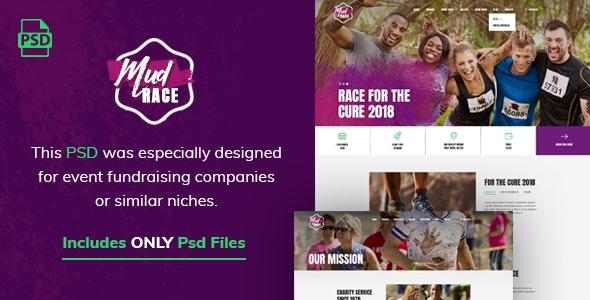 Mud Race - Single Event Fundraiser PSD Template - Photoshop UI Templates