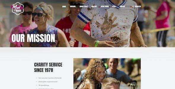 Mud Race - Single Event Fundraiser PSD Template