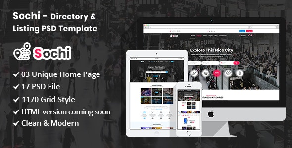 Sochi - Directory & Listing PSD Template - Corporate PSD Templates