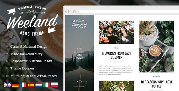 Weeland - Masonry Lifestyle WordPress Blog Theme - Personal Blog / Magazine