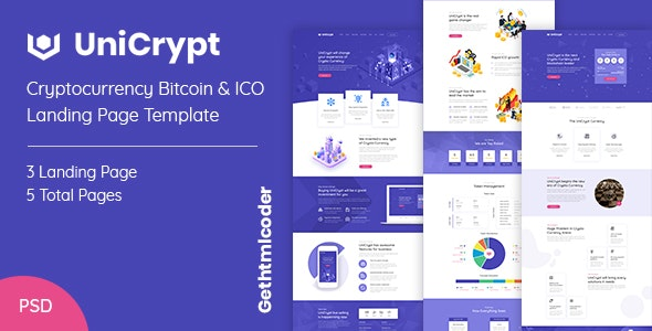 UniCrypt - Cryptocurrency lading page psd template - Photoshop UI Templates