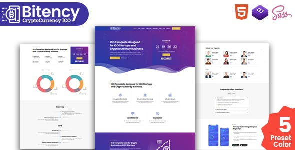 Bitency - Cryptocurrency & Bitcoin Bootstrap 4 responsive landing page template