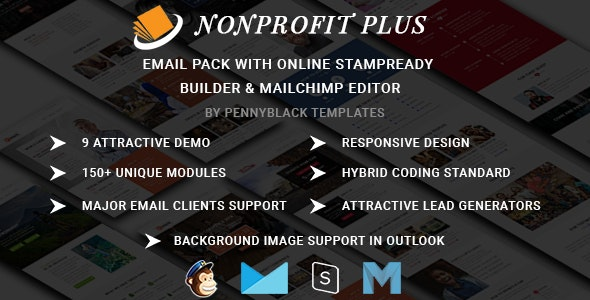 Nonprofit Plus - Email Pack With Online StampReady & Mailchimp Editors - Newsletters Email Templates