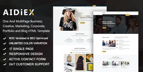 Aidiex – Business And Corporate Responsive Website - Business Corporate