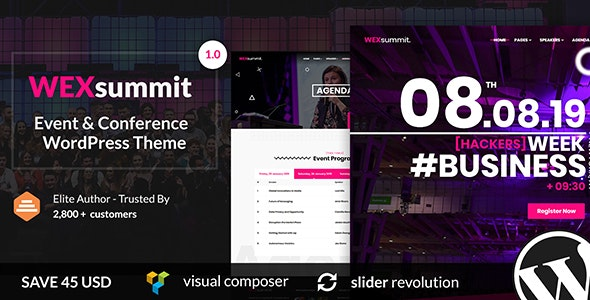 WEXsummit- Event And Conference WordPress Theme - Events Entertainment