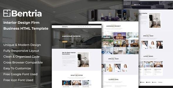 Bentria - Interior Design Firm Website HTML Template - Fashion Retail