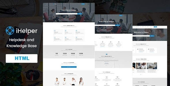 iHelper - Helpdesk and Knowledge Base HTML Template - Business Corporate