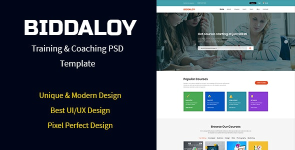 BIDDALOY - Training & Coaching PSD Template - Charity Nonprofit