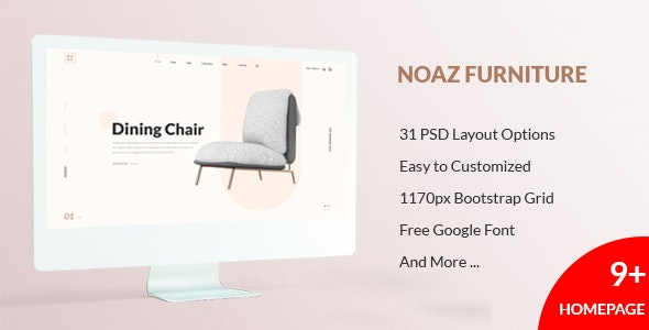 NOAZ – Furniture Ecommerce PSD Template - Photoshop UI Templates