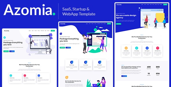 Azomia – Responsive Bootstrap 4 SaaS, Startup & WebApp Multi-purpose Template - Technology Site Templates