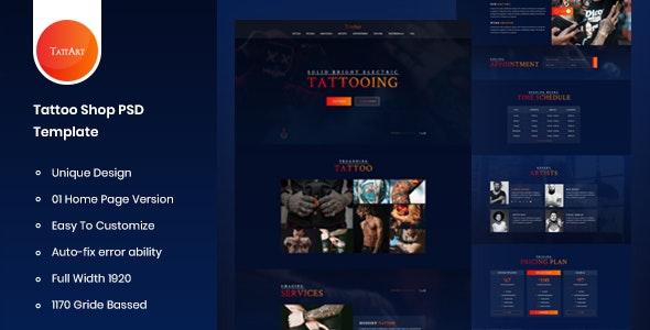 Tattart – Tattoo Shop Website PSD Template - Art Creative