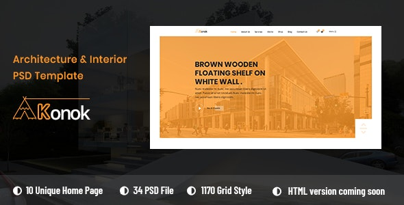Konok - Architecture & Interior PSD Template - Business Corporate
