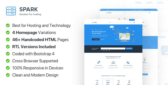 Spark - Responsive Hosting, Domain and Technology Template