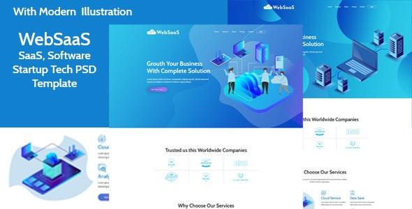 WebSasS - SaaS, Software, Startup Tech PSD Template - Business Corporate